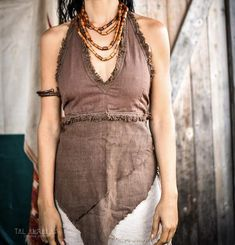 Brown Frayed Halter Top ~ Handwoven khadi Cotton by PrimitiveTribalCraft on Etsy Backless Halter Top, Bohemian Tops, Festival Tops, Tribal Fashion, Fabric Material, Diy Clothes, Hand Weaving, Trending Outfits, Brown