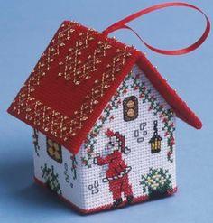 image of Decorating Santa House 3D Cross Stitch Kit