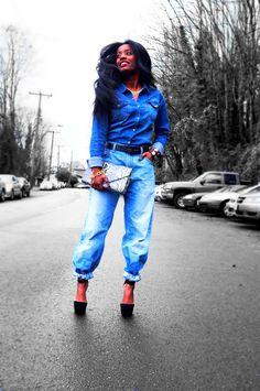Love this girls style! Denim on denim, done well!