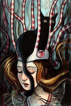"""""""Cat Dreams"""" by artist Kelly Vivanco 'aka' by verpabunny via flickr♥•♥•♥"""