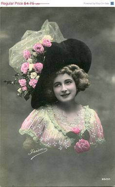 ON SALE Vintage French hand tinted photo by SistersScrapbooking, $3.80