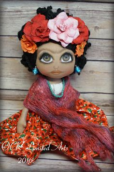 FRIDA Ooak Art doll Folk Art cloth handmade  Mexican Icon hand painted soft sculpture collectible gift home decor by OCRLimitedArts on Etsy