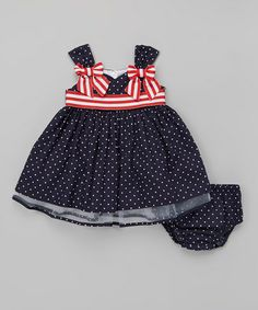 Look at this #zulilyfind! Blue Stripe Bow Babydoll Dress - Infant & Toddler by Gerson & Gerson #zulilyfinds