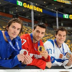 Loui Eriksson, Patrice Bergeron and Tuukka Rask with their olympic medals!