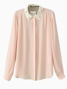 Pink Bright Chiffon Shirt With Perl Collar | Choies