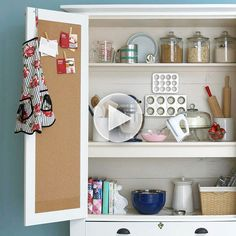 See How to Create a Baking Cabinet I sort of have this already...my hutch & buffet doesan't fit in my kitchen so it's in my laundry room/porch & i have all my baking supplies in it! i'd much rather have this one tho & my hutch with my good dishes but oh well..you do what you gotta do! :)