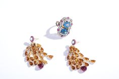 Victoria Wieck 7.66ctw London Blue Topaz, White Zircon & Ruby Halo Ring and Madeira Citrine & Gemstone Tassel Earrings