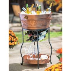 Galvanized Copper Party Bucket with Stand and Tray Gallon Capacity Host a stylish party with this beautiful galvanized copper party bucket. The generous 9 Cooler Stand, Wine Stand, Wine Bucket, Bucket Hat, Beverage Tub, Make Your Own Wine, Bottle Holders, Wine Rack, Tray