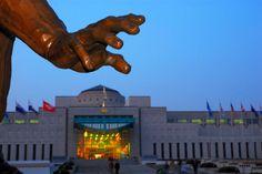 Hand of statue in front of War Memorial at dusk.~ S. Korea