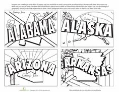 Worksheets: Vintage State Postcards