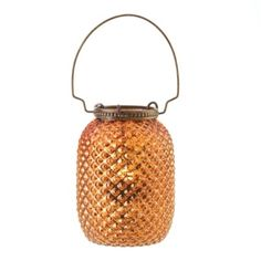 "by Gallery of Light The fiery orange glow from this exquisite lantern will warm up your room instantly. Light a candle inside and the diamond-patterned glass creates glittering ambiance. Candle not included. Meant to be used with tealight candles ONLY.  7"" high with handle. 3.5"" x 3.5"" x 4.75""  www.allgooddecor.com/shop.html #allgooddecor #decorations #gifts #candles #toys #discount #furniture #candleholders #home #figurines #lighting #pictures #mirrors #jewelry #garden #clearance #kitchen"