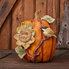 New Country Fall SUNFLOWER BIRD GIVE THANKS RESIN PUMPKIN Wood Carved Look