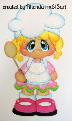 Baking Girl Blonde Paper Piecing Die Cut for Premade Scrapbook Page by Rhonda | eBay