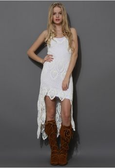 Santorini Hand-knit Crochet Dress in Off-White - high-low crochet dress could make a stunning look at your leisure or at the beach side.