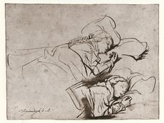 Rembrandt Harmenszoon van Rijn - Two Studies of Saskia Asleep - The Morgan Library & Museum - Collections Leiden, Rembrandt Etchings, Rembrandt Drawings, Drawing Sketches, Art Drawings, Contour Drawings, Sketching, Drawing Studies, Dutch Painters