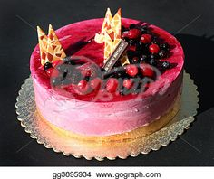 """""""Birthday cake with berries and decorations"""" - Cake Stock Photos from Go Graph"""
