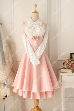 Pink/Round Neck/Sleeveless Classical Lolita Dress on LolitaDressesShop.com