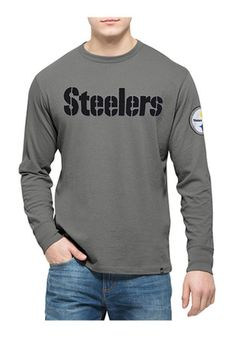 '47 Pitt Steelers Mens Grey LS Fieldhouse Tee Fashion Tee