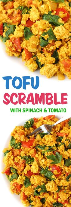 Our favorite vegan breakfast! 30 minute Tofu Scramble with Spinach and Tomato! So flavorful and filling #vegan #tofu