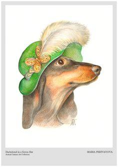 Dachshund in a Green Hat | Art Print 11.7'' x 16.5'' | Animal Century Art Collection