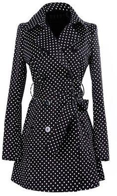 27f955c42227 Vintage Turn-Down Collar Long Sleeve Polka Dot Self Tie Belt Coat Dress For  Women