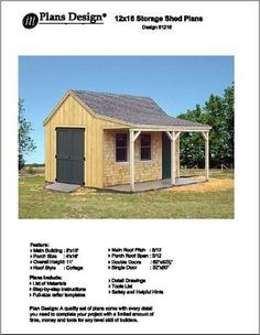 12' X 16' Cottage Shed with Porch Project Plans 81216