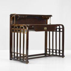 Josef Hoffmann (1870-1956), Jacob & Josef Kohn, Desk, Lacquered Beech and Brass.