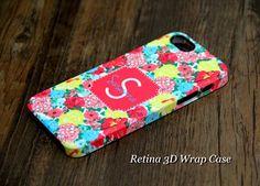 Stylish Floral Pattern Monogram iPhone 5S/5C/5/4S/4 3D Wrap Case