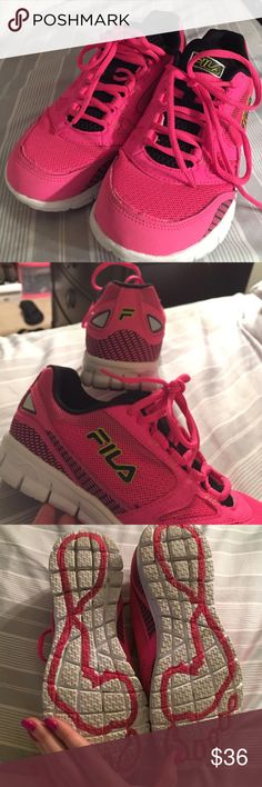 FILA Memory Foam Sneakers 💖 comfy!!! Holy comfy. MEMORY FOAM INSOLES. It's literally like walking on air. They had only 8s and I needed a 7.5, and I really wanted them. I literally wore once. Did I say they were comfy? Like really though. Hot pink! Fila Shoes Sneakers