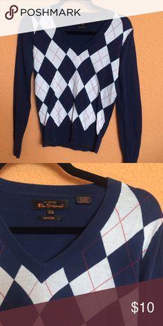 🍁Ben Sherman Blue Plaid Sweater Ben Sherman v-neck sweater in blue plaid! Lightweight and comfortable! Ben Sherman Sweaters V-Necks