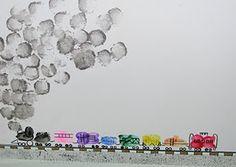Thumbprint/Fingerprint Freight Train | Craft To Art