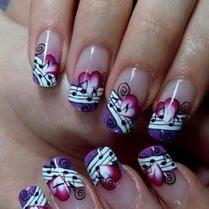 Simple Nail Art Designs That You Can Do Yourself – Your Beautiful Nails Music Nail Art, Music Nails, Music Note Nails, Art Music, Fabulous Nails, Gorgeous Nails, Pretty Nails, Amazing Nails, Acrylic Nail Art