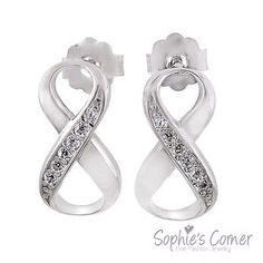 Diamond Accented Infinity Loop Stud Earrings White Gold Over S