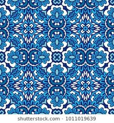 Seamless tiled pattern blue and white luxury classical damask design for wallpaper and fabric