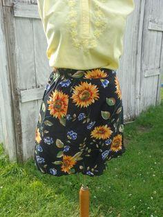 90s Floral Skort Sunflower Skort Grunge Wrap Women's by BosVintage