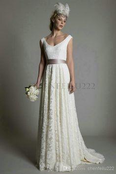 Wholesale Wedding Dress - Buy Bridal Dresses 2015 New Hot Seller Sleeveless V-Neck Sashes Lace Sweep/Brush Train Custom Size Vestido De Noiva Wedding Gowns, $146.6   DHgate.com