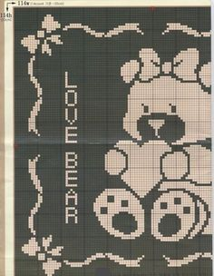 This Pin was discovered by Вал Baby Knitting Patterns, Crochet Patterns Filet, Filet Crochet, Baby Blanket Crochet, Crochet Baby, Cross Stitch Silhouette, Manta Crochet, Love Bear, Knitted Blankets