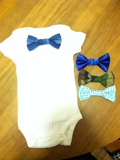 Www.seaminglysisters.com Cute lil onsies with custom snap on bow ties. Always Homemade, and always adorable.     @Jo-Ann Fabric and Craft Stores    I thought you might like these, as you just posted something like this!