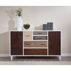 Mid-century modern gets a contemporary update in this 7 drawer dining room buffet.    #modern #homedecor #dining