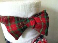 Red and Green Plaid Bow Tie by Phi Ties