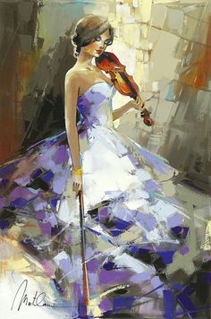 """Browse Artwork – Park West Gallery """"Softness"""" Oil painting on canvas by Anatoly Metlan – Park West Gallery Abstract Painting Techniques, Oil Painting Abstract, Painting & Drawing, Violin Painting, Violin Art, Painting Canvas, Painting Frames, Watercolor Painting, Nature Paintings"""