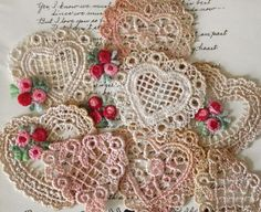 Crochet hearts and roses.