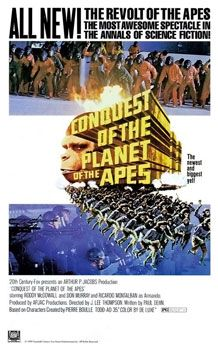 """Conquest of the planet of the apes.jpg  """"The opening titles set the film in """"North America – 1991."""" Armando (Ricardo Montalbán) explains that in 1983 a disease killed the world's cats and dogs, leaving humans with no pets. To replace them, humans began keeping apes as household pets.  By 1991, US culture is based on ape slave labor. It is also suggested that America of the 1990s is at least partly a police state, as apes and humans are being watched at all times."""" omg it's true lol"""