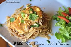 Slow Cooker Thai Chicken - a makeover recipe using Powdered Peanut Butter. Mix it all up in your slow cooker, and enjoy a healthy dinner. Sub out the noodles for zoodles Pb2 Recipes, Slow Cooker Recipes, Asian Recipes, Crockpot Recipes, Chicken Recipes, Cooking Recipes, Healthy Recipes, I Love Food, Good Food