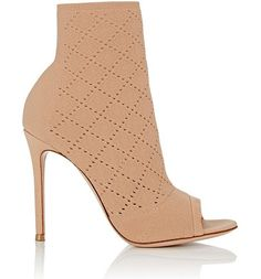 Perforated knit ankle booties-colorless by Gianvito Rossi. Exclusively Ours! Gianvito Rossi beige diamond-perforated knit ankle booties styled with an open toe and stiletto hee...