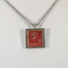 Vintage Norway Postage Stamp Necklace by 12be on Etsy, $14.50