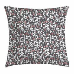 Vintage Throw Pillow Cushion Cover, Art Deco Style Drawing of a Pattern with Leafy Sprig Silhouettes and Berries, Decorative Square Accent Pillow Case, 18 X 18 Inches, Coral Grey White, by Ambesonne #artdecodiamond Accent Pillows, Throw Pillows, Art Deco Diamond, Art Deco Fashion, Cover Art, Grey And White, Silhouettes, Berries, Cushion