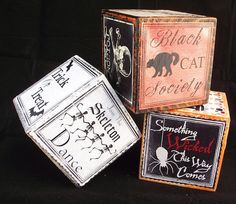 Make these Mod Podge vintage Halloween blocks for simple holiday decorating