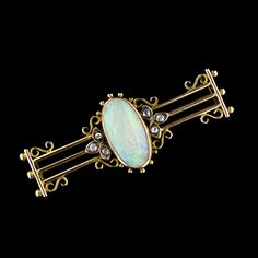 Victorian Opal and Diamond Bar Pin