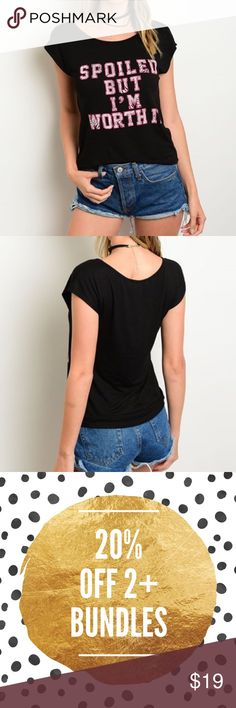 """❗️LAST ONE❗️I'm worth it Graphic Top Graphic top with short sleeves and round neckline. Made of soft rayon/ spandex blend.  Marled. Measurements for small: Length: 23"""" Bust: 32"""". Bchic Tops Tees - Short Sleeve"""